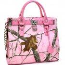 Dasein® Padlock Tote bag in Pink Realtree® Camo Print w/Faux Croc Trim