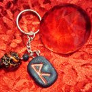 Rune Pendant Key Chain made of Real Charcoal