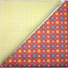 Yellow Gingham Orange Floral - Two FAT Quarters (2731)