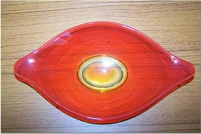 Glowing Antique Orange and Yellow Candy Dish