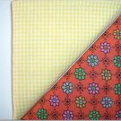 Yellow Gingham n Orange Floral - Two FAT Quarters (2733)