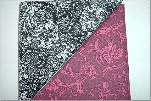 Black n Burgandy Pink Swirls - Two FAT Quarters (2734)