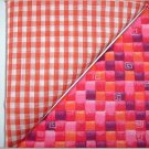 Orange Gingham n Orange/Pink Print - Two FAT Quarters (2737)