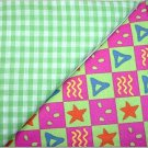 Green Gingham n Matching Print - Two FAT Quarters (2738)