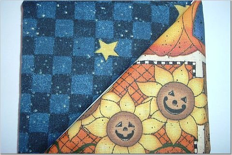 Halloween Print n Navy Blue w/Stars - Two FAT Quarters (2739)