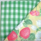 Green Gingham n Cherries & Strawberry Print - Two FAT Quarters (2747)