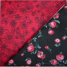 Red w/Black Flowers n Black w/Red-Pink Floral - Two FAT Quarters (2748)