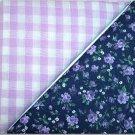 Lavendar Gingham n Black w/Purple Floral Print - Two FAT Quarters (2751)