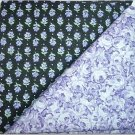 Purple Floral  n Black w/Purple Flower Print - Two FAT Quarters (2754)