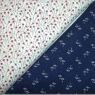 Burgandy Stars w/Navy Dots n Navy Print - Two FAT Quarters (2757)