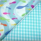 Turqoise Gingham n Swimming Fish Print - Two FAT Quarters (2758)
