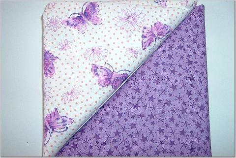 Lavendar w/Purple Stars n Butterfly Purple/Pink Print - Two FAT Quarters (2760)