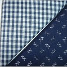 Navy Gingham n Navy Print - Two FAT Quarters (2761)