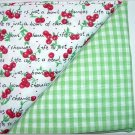 Green Gingham n Cherries Print - Two FAT Quarters (2768)