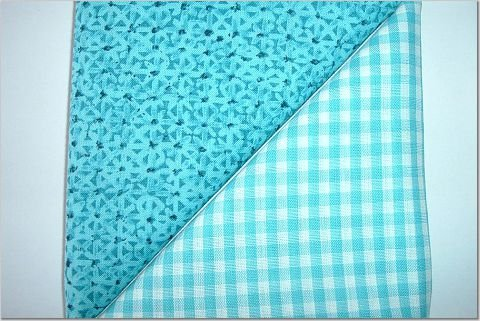 Turqoise Gingham n Turqoise Print - Two FAT Quarters (2770)