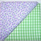 Green Gingham n Lavendar Floral Print - Two FAT Quarters (2771)