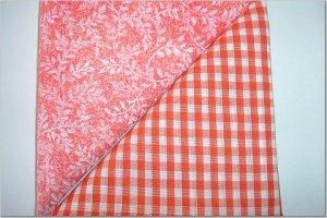 Orange Gingham n Orange Leaf Print - Two FAT Quarters (2774)
