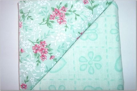 Mint Green with Pink Flowers n' Mint Green Print - TWO Fat Quarters (2780)