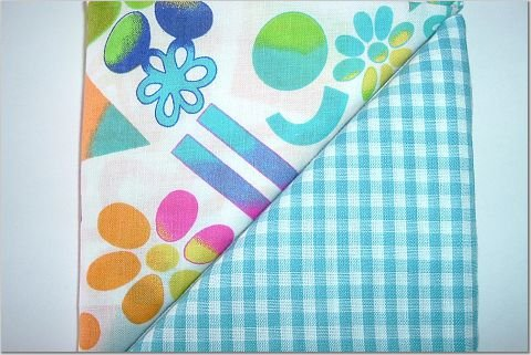 Neon Crazy Print n' Turquoise Gingham  - TWO Fat Quarters (2781)