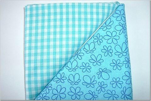 Turqoise Gingham n' Floral Print - Two FAT Quarters (2784)