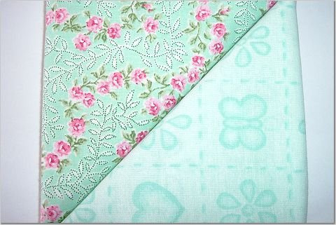 Mint Green with Pink Flowers n' Mint Green Print - TWO Fat Quarters (2785)