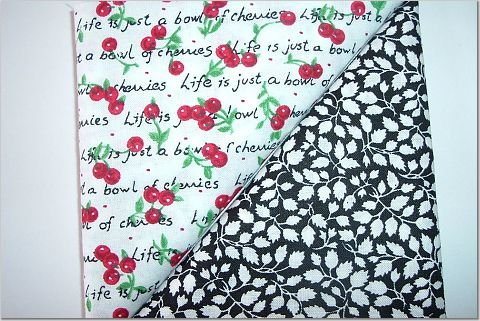 Black/White Leaves n' Red Cherries Print - Two FAT Quarters (2786)