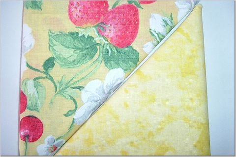 Yellow Tied-Eyed Print n' Strawberries-Cherries - TWO Fat Quarters (2787)