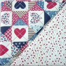 Country Patriotic Quilt Print n' Matching Stars -TWO Fat Quarters (2790)