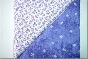 Purple Tied Eye w/Stars n' Purple Floral Print - TWO Fat Quarters (2791)