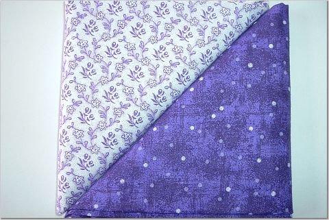 Purple Dots n' Purple Floral Print - TWO Fat Quarters (2795)