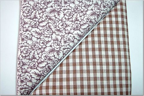 Brown Gingham n' Brown Floral Print - TWO Fat Quarters (2803)