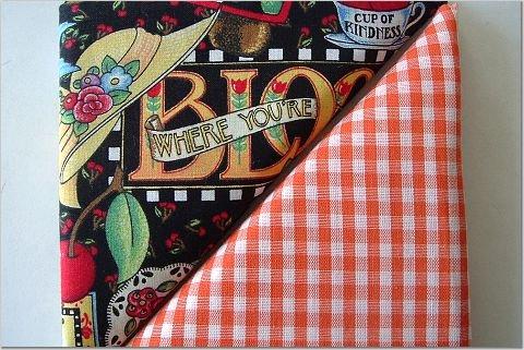 Mary Englebreit Print n' Orange Gingham - TWO Fat Quarters (2830)