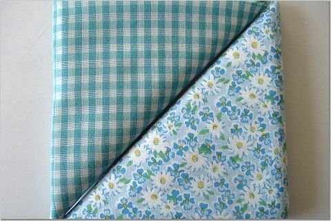 Turqoise Gingham n' Daisy Floral Print - Two FAT Quarters (2831)