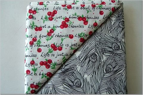 Black Peacock Feathers n' Cherries Print - TWO Fat Quarters (2832)