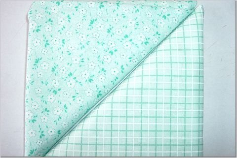 Mint Green Plaid n' Aqua Tiny Floral Print - TWO Fat Quarters (2855)