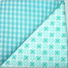 Turqoise Gingham n' Crazy Box Print - Two FAT Quarters (2857)