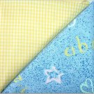 Tiny Yellow Gingham n' Child's ABC Print - TWO Fat Quarters (2861)