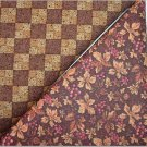 Leaves & Berries Print n'  Two Tone Brown Checker - TWO Fat Quarters (2862)