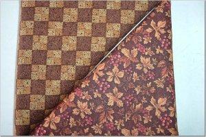 Leaves & Berries Print n'  Two Tone Brown Checker - TWO Fat Quarters (2862)