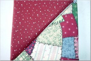 Crazy Quilt Patch Print n' Burnt Burgandy w/Dots - TWO Fat Quarters (2865)