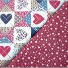 Patriotic Quilt Print n' Burgandy Stars & Dots - TWO Fat Quarters (2866)