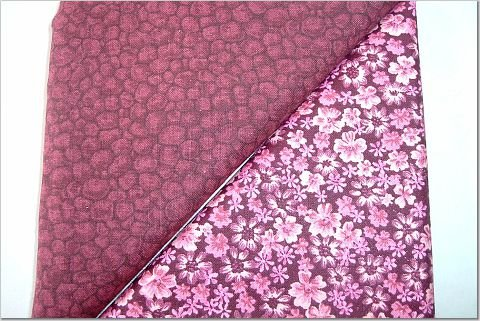 Tiny Pink Floral On Burgandy n' Burgandy Pebble Print - TWO Fat Quarters (2868)