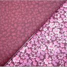 Tiny Pink Floral On Burgandy n' Burgandy Pebble Print - TWO Fat Quarters (2868)