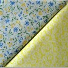 White on Yellow n' Yellow w/Blue Floral Print - TWO Fat Quarters (2869)