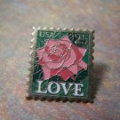 "25 cent Rose ""LOVE"" Stamp Pin"