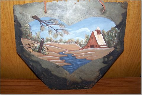 Hand Painted Slate - Heart * Barn * Creek