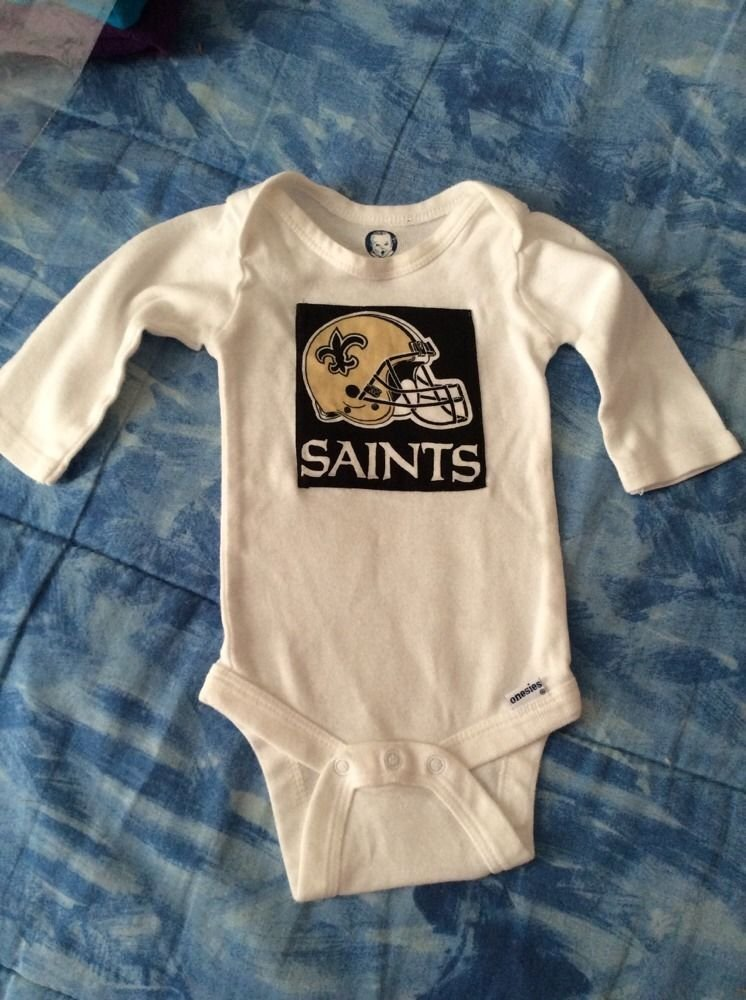 Gerber One Piece 3-6 M With Saints Applique Long Sleeve Homemade NWOT