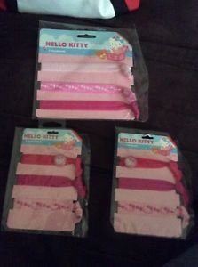 New Hello Kitty Lot of 3 Packages Girls Headbands Hair Bands Pony Tail Holders