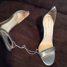 "XHILARATION BRAND Silver SYNTHETIC MATERIAL SIZE 6M 3"" HEELS"