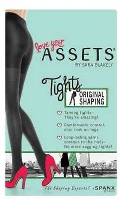 ASSETS  SHAPING Reversible PANTY HOSE  SIZE 2 BLACK/Gray NEW